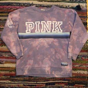 Pink Victoria Secret Bleached Tie Dye Sweater